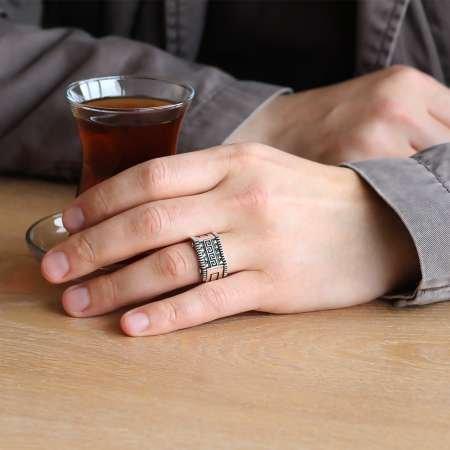 Labirent Motifli 925 Ayar Gümüş Erkek Yüzük - Thumbnail