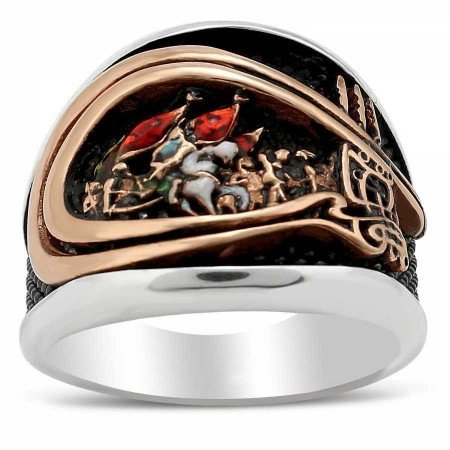 Fetih 1453 Motifli 925 Ayar Gümüş Erkek Yüzük - Thumbnail