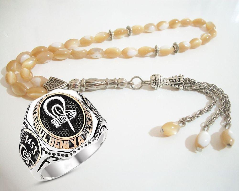 925 Ayar Gümüş Fetih Yüzük Ve Sedef Tesbih Kombini