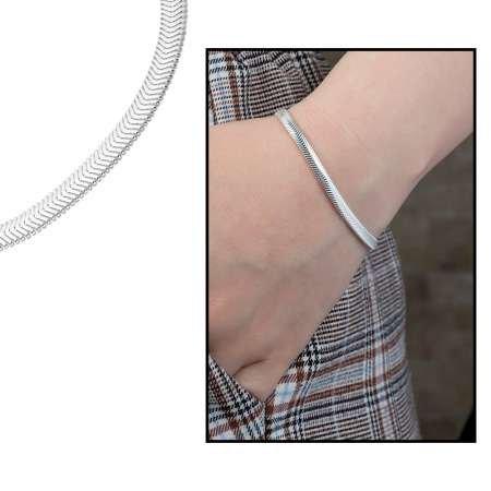 925 Ayar Gümüş Flat Snake Bayan Zincir Bileklik - Thumbnail
