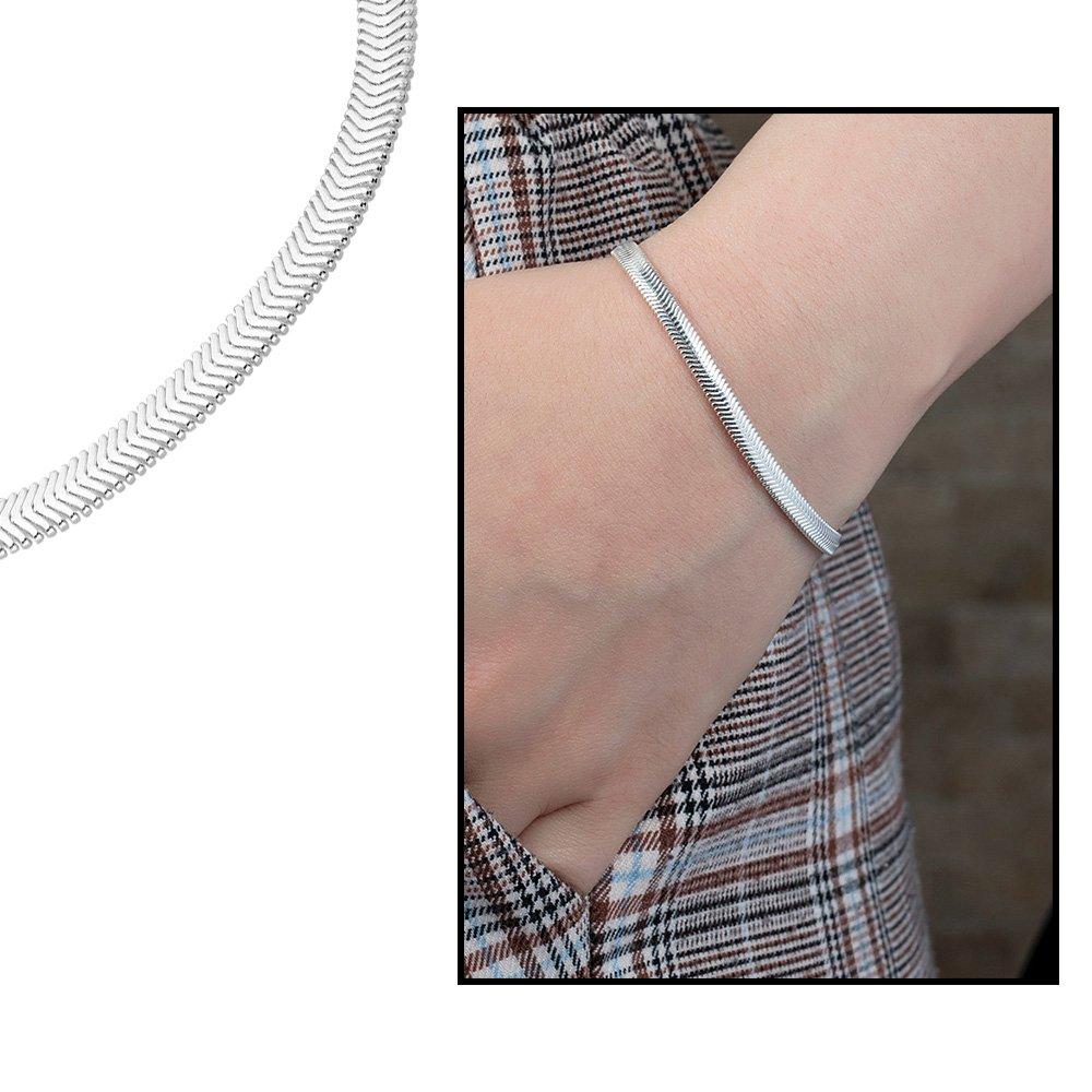 925 Ayar Gümüş Flat Snake Bayan Zincir Bileklik