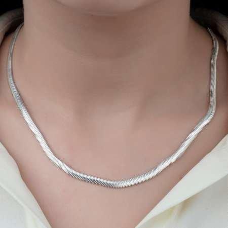 925 Ayar Gümüş Flat Snake Bayan Zincir Kolye - Thumbnail