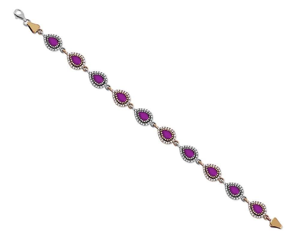 925 Ayar Gümüş Fuşya Renkli Damla Model Bileklik