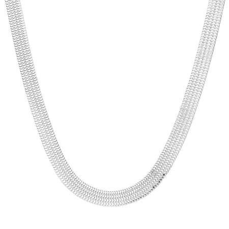 925 Ayar Gümüş Geniş Örgü Bismark Bayan Zincir Kolye - Thumbnail