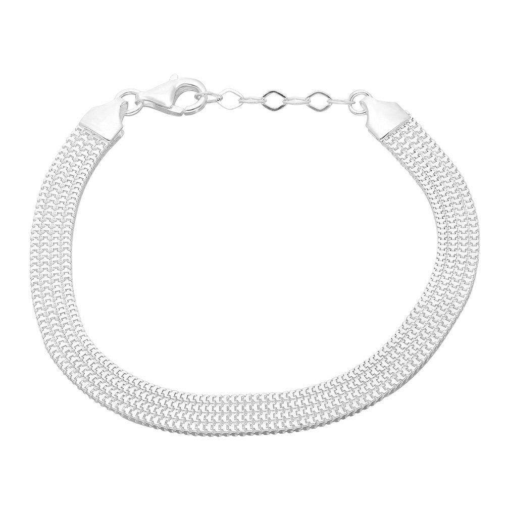 925 Ayar Gümüş Geniş Örgülü Bismark Bayan Zincir Bileklik