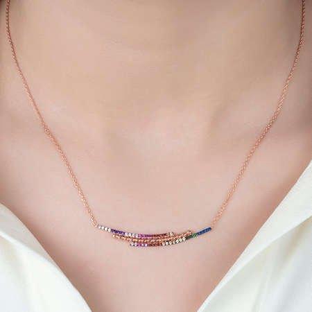 Gökkuşağı Renkli Zirkon Taşlı Üç Sıra 925 Ayar Gümüş Bayan Kolye - Thumbnail