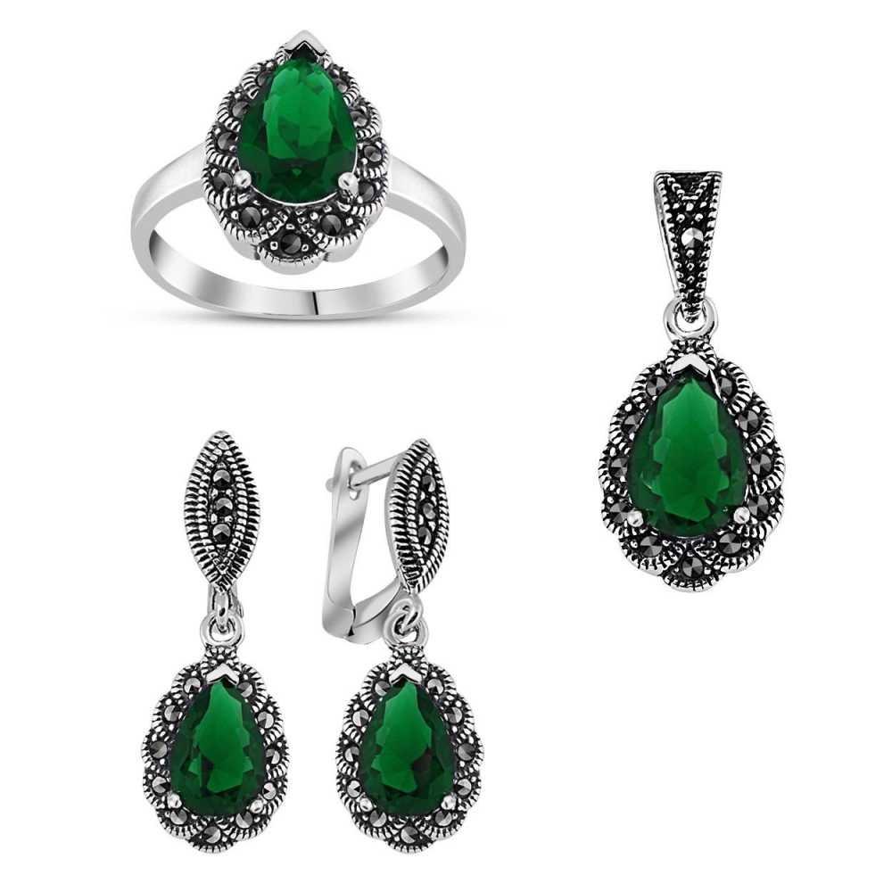 925 Ayar Gümüş Green Glass Taşlı Damla Model Set