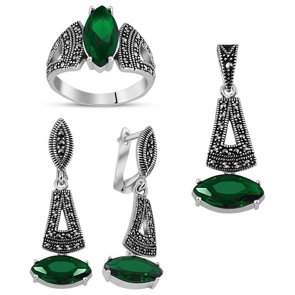 925 Ayar Gümüş Green Glass Taşlı Set 4