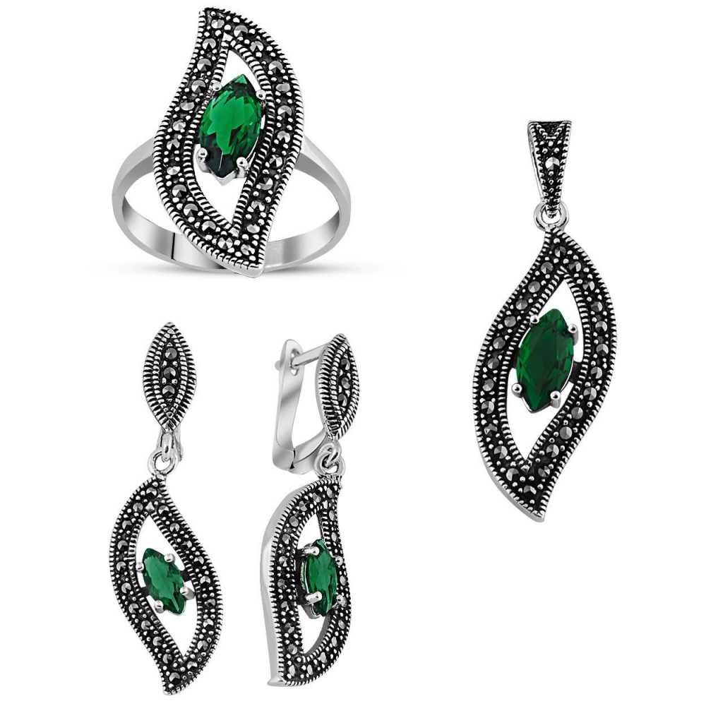 925 Ayar Gümüş Green Glass Taşlı Set 5