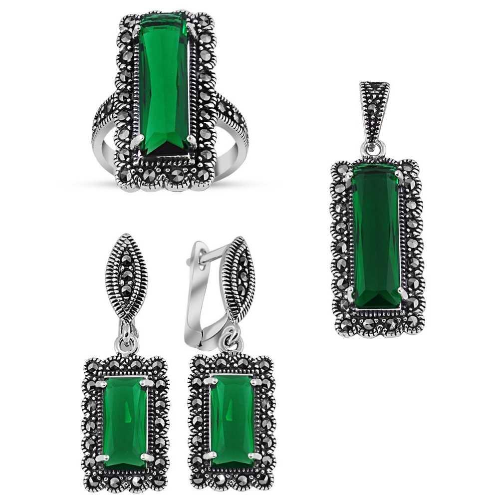 925 Ayar Gümüş Green Glass Taşlı Set