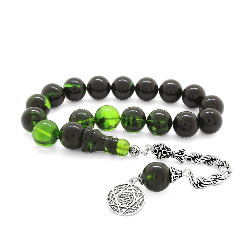 925 Ayar Gümüş Halat Püsküllü Süzme Yeşil-Siyah Ateş Kehribar Efe Tesbih