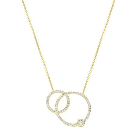 Beyaz Zirkon Taşlı Çift Halka Tasarım 925 Ayar Gümüş Bayan Kolye - Thumbnail