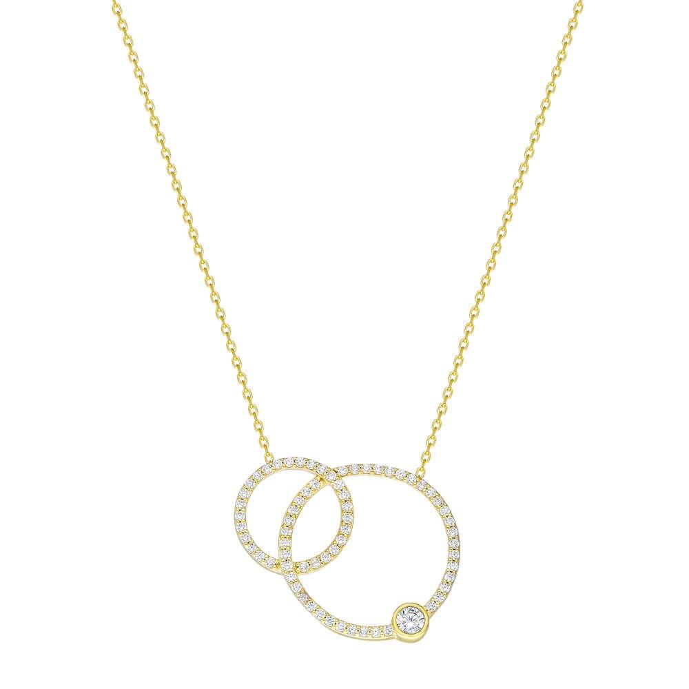 Beyaz Zirkon Taşlı Çift Halka Tasarım 925 Ayar Gümüş Bayan Kolye