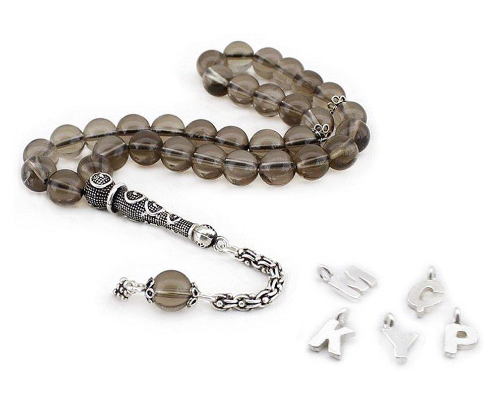 925 Ayar Gümüş Püsküllü Küre Kesim Kişiye Özel İsim Yazılı Kuvars Tesbih