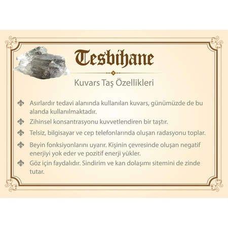 925 Ayar Gümüş Püsküllü Küre Kesim Kişiye Özel İsim Yazılı Kuvars Tesbih - Thumbnail