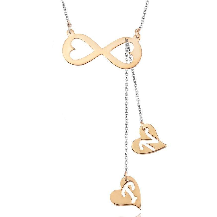 925 Ayar Gümüş Harf Yazılı Kalb-İ Sonsuz Kolye