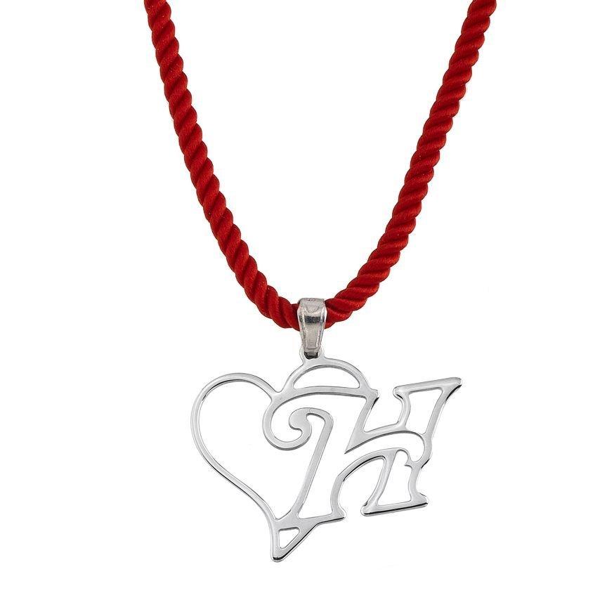 925 Ayar Gümüş Harf Yazılı Kalp Kolye (model 3)