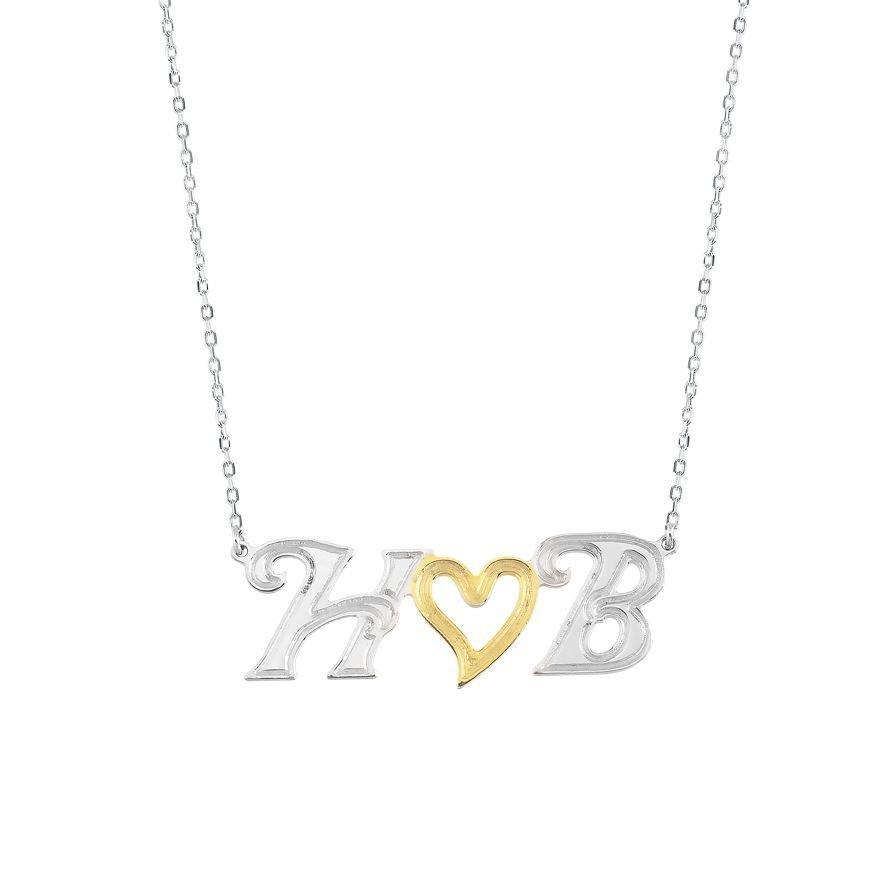 925 Ayar Gümüş Harf Yazılı Kalp Kolye (Model 5)