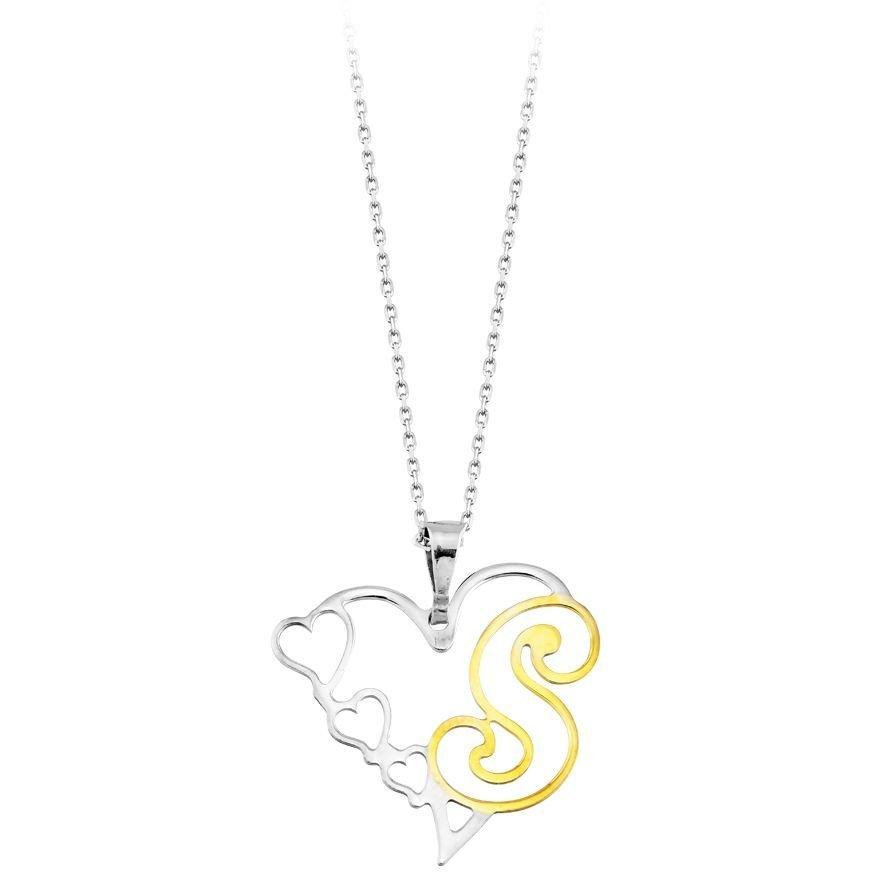 Kalp Tasarım Kişiye Özel Harf Yazılı 925 Ayar Gümüş Bayan Kolye