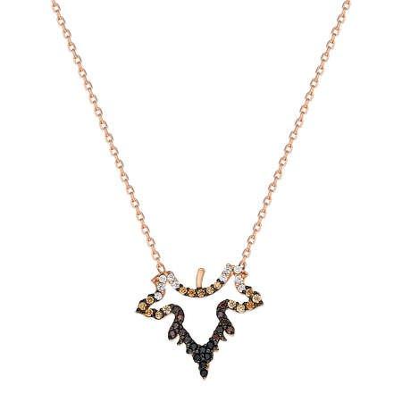 Renkli Zirkon Taşlı Çınar Yaprağı Tasarım 925 Ayar Gümüş Bayan Kolye - Thumbnail