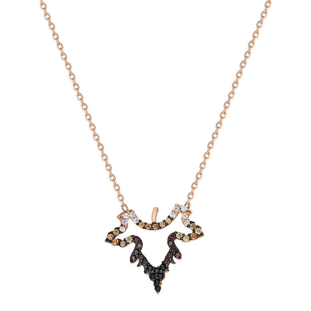 Renkli Zirkon Taşlı Çınar Yaprağı Tasarım 925 Ayar Gümüş Bayan Kolye