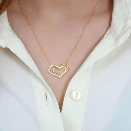 Beyaz Zirkon Taşlı Çift Kalp Tasarım 925 Ayar Gümüş Bayan Kolye - Thumbnail