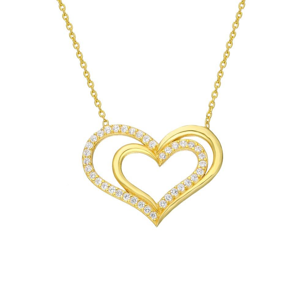 Beyaz Zirkon Taşlı Çift Kalp Tasarım 925 Ayar Gümüş Bayan Kolye