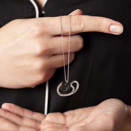 925 Ayar Gümüş İkili Vav Model Kolye - Thumbnail