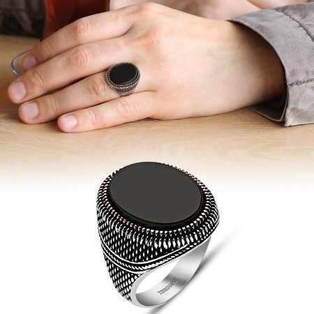 İnce İşçilikli Siyah Oniks Taşlı 925 Ayar Gümüş Erkek Yüzük - Thumbnail