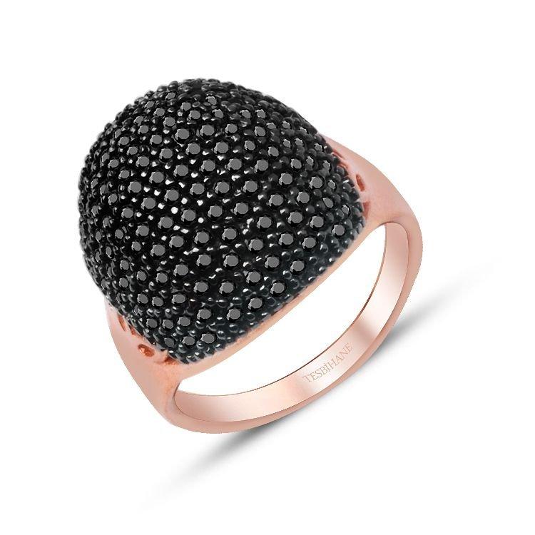 925 Ayar Gümüş İnce Siyah Zirkon Taşlı Rose Yüzük Model 2