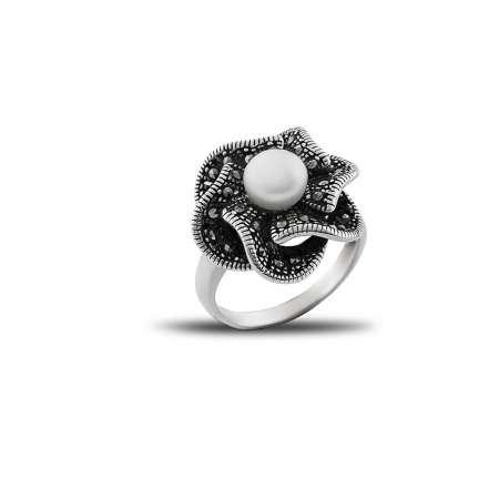 925 Ayar Gümüş İnci Taşlı Çiçek Yüzük (Model-2) - Thumbnail