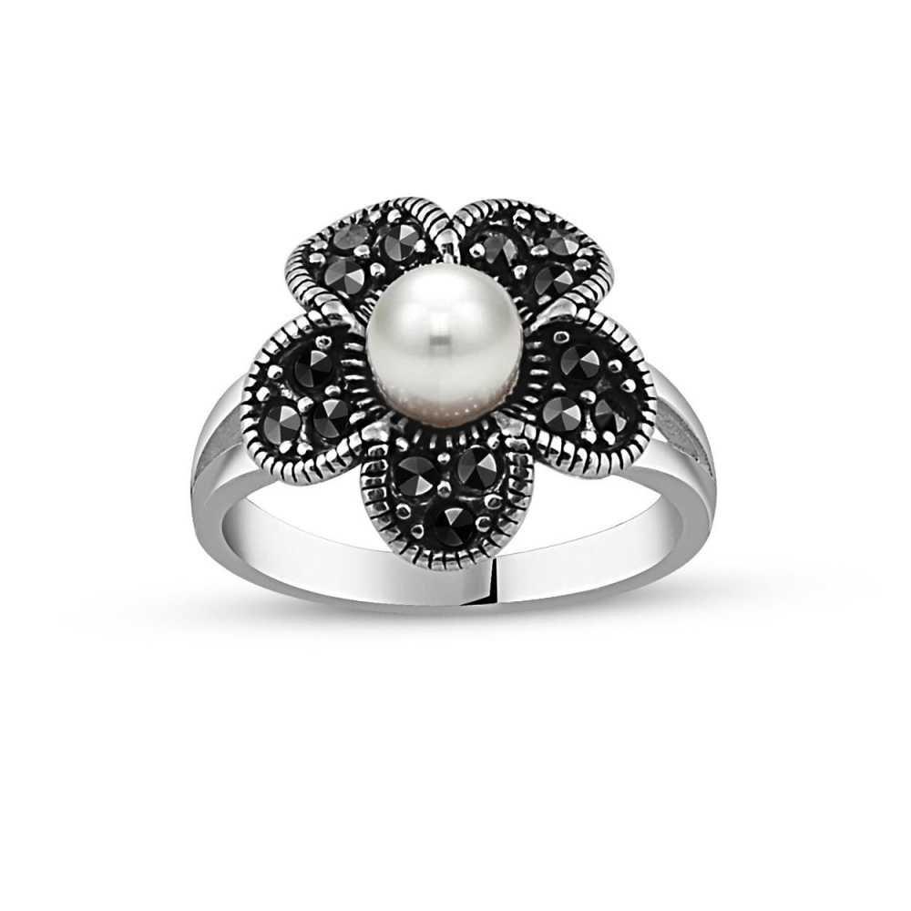 925 Ayar Gümüş İnci Taşlı Çiçek Yüzük
