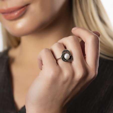 925 Ayar Gümüş İnci Taşlı Yüzük - Thumbnail