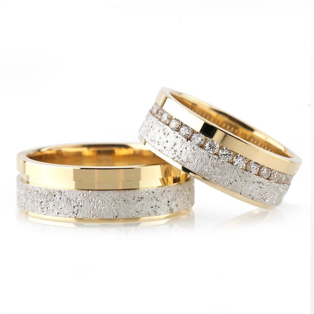 Işıltılı Tasarım Çift Şeritli 925 Ayar Gümüş Çift Alyans