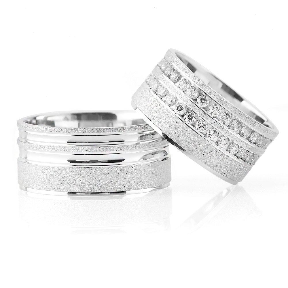Çift Şeritli Işıltılı Tasarım 925 Ayar Gümüş Çift Alyans