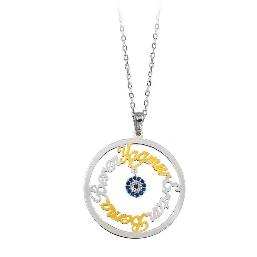 Daire Tasarım Kişiye Özel Dört İsim Yazılı 925 Ayar Gümüş Bayan Kolye