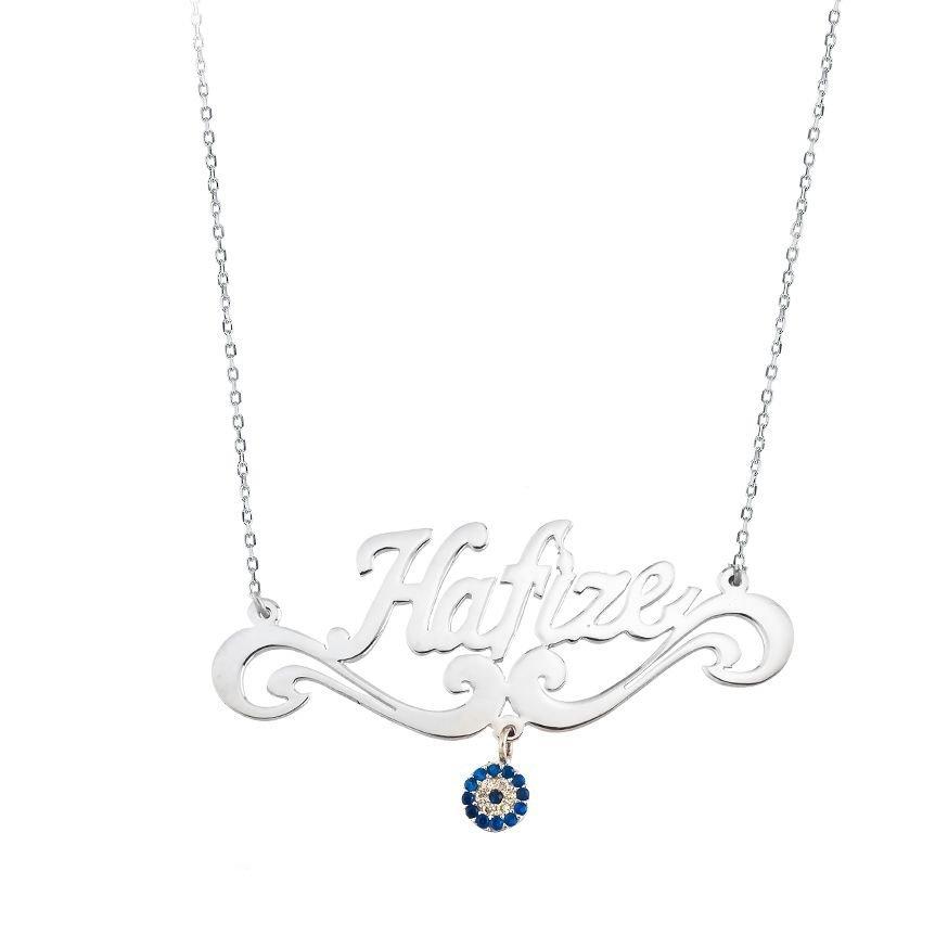 Nazar Boncuklu Kişiye Özel İsim Yazılı 925 Ayar Gümüş Bayan Kolye