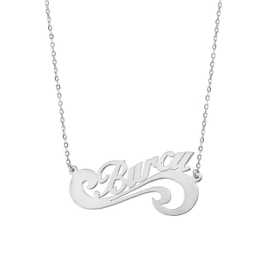 Sonsuzluk Tasarım Kişiye Özel İsim Yazılı 925 Ayar Gümüş Bayan Kolye
