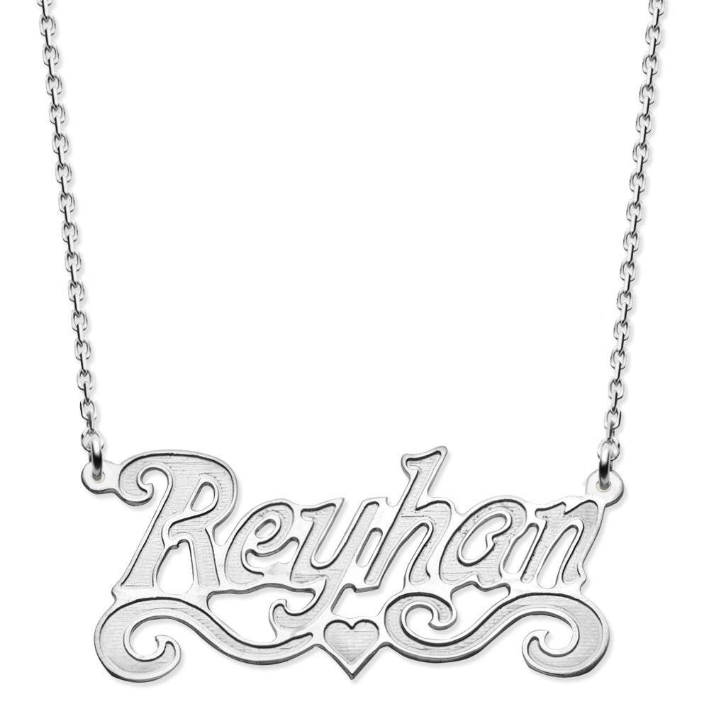 Küçük Kalp Tasarım Kişiye Özel İsim Yazılı 925 Ayar Gümüş Bayan Kolye