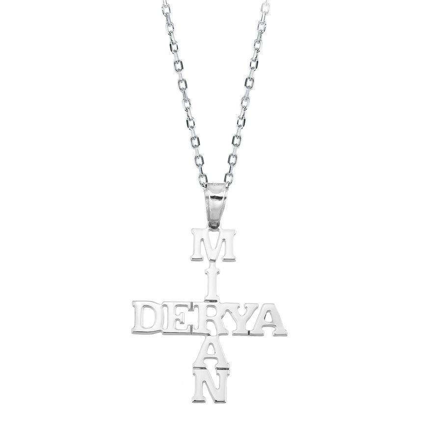 925 Ayar Gümüş İsim Yazılı Model Kolye
