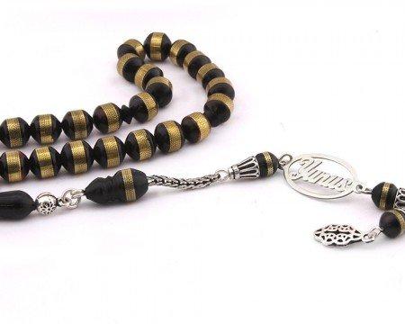 925 Ayar Gümüş İsim Yazılı Püsküllü Sığırcık Kesim Kuka Tesbih - Thumbnail
