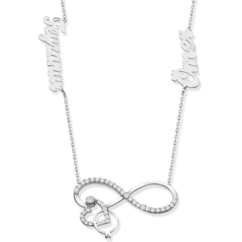 925 Ayar Gümüş İsim Yazılı Sonsuzluk Kalp Yüzük Model Kolye