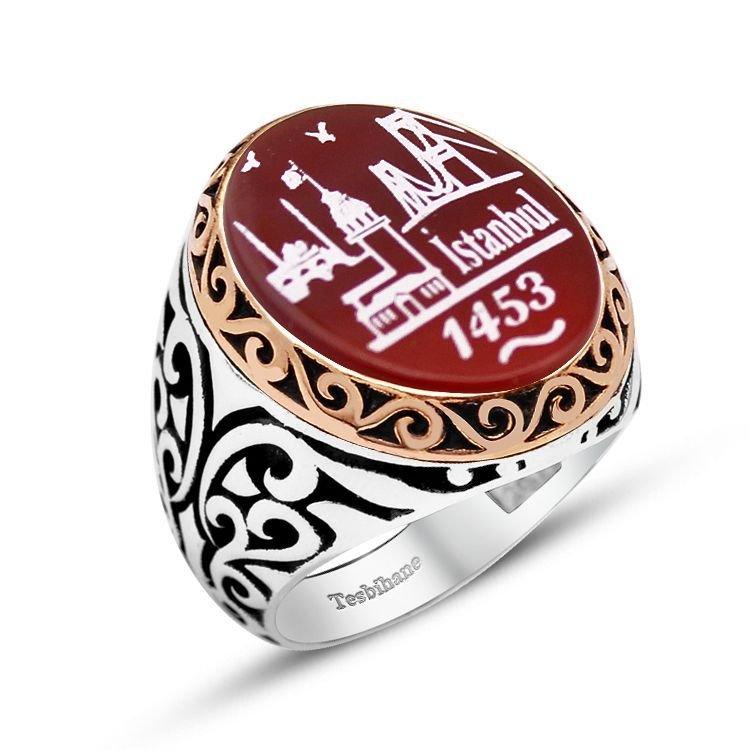 925 Ayar Gümüş İstanbul 1453 Desenli Akik Taşlı Yüzük