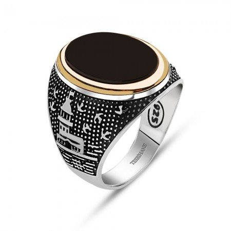 925 Ayar Gümüş İstanbul Temalı Oniks Taşlı Yüzük - Thumbnail