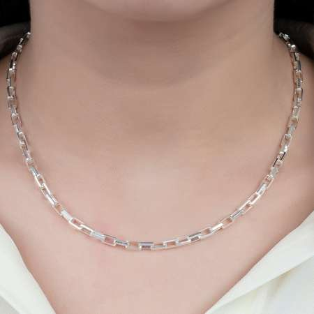 925 Ayar Gümüş İtalyan Box Bayan Zincir Kolye - Thumbnail