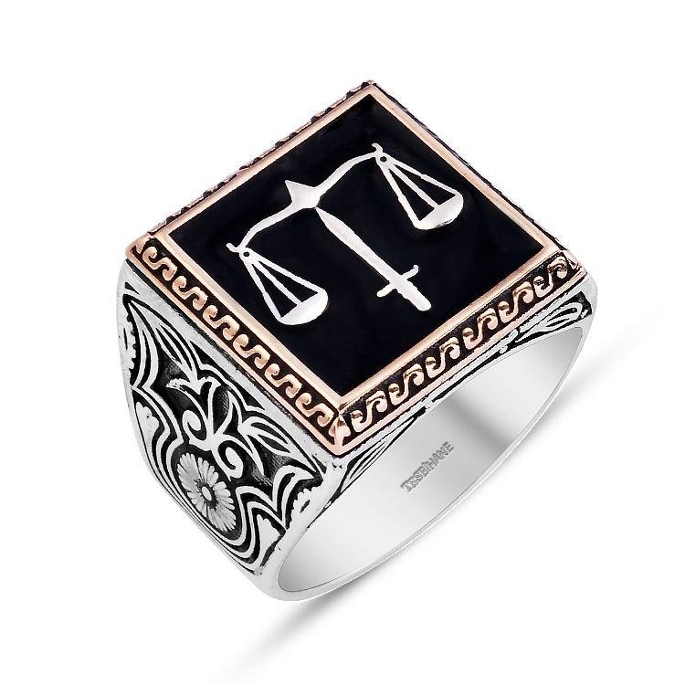 925 Ayar Gümüş Kaçak Dizisi Adalet Yüzüğü (EY-ADALET)