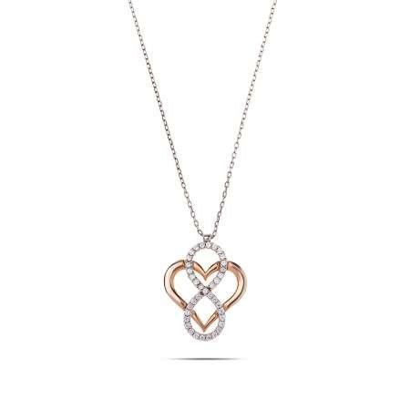 Zirkon Taşlı Kalbim Sonsuza Kadar Seninle 925 Ayar Gümüş Bayan Kolye - Thumbnail