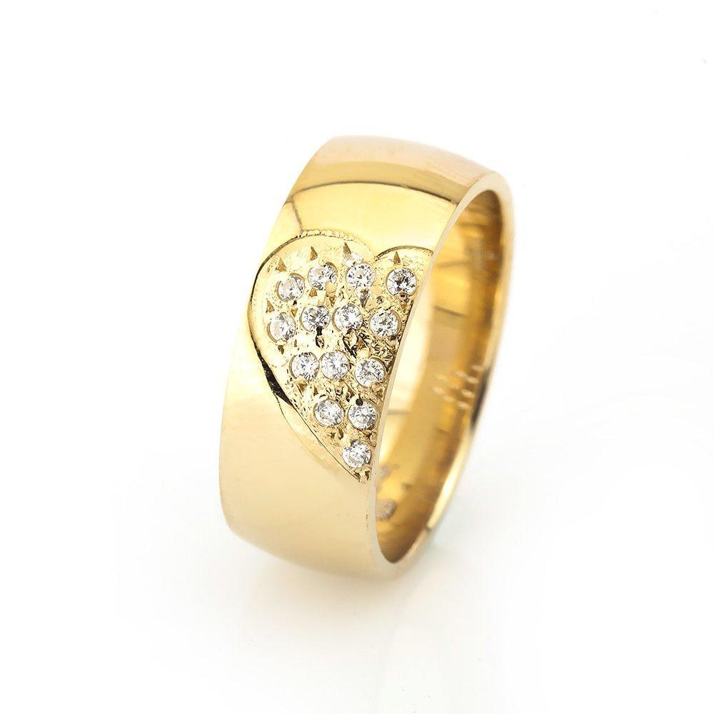Kalbimin Sahibi Tasarım Zirkon Taşlı Gold Renk 925 Ayar Gümüş Bayan Alyans