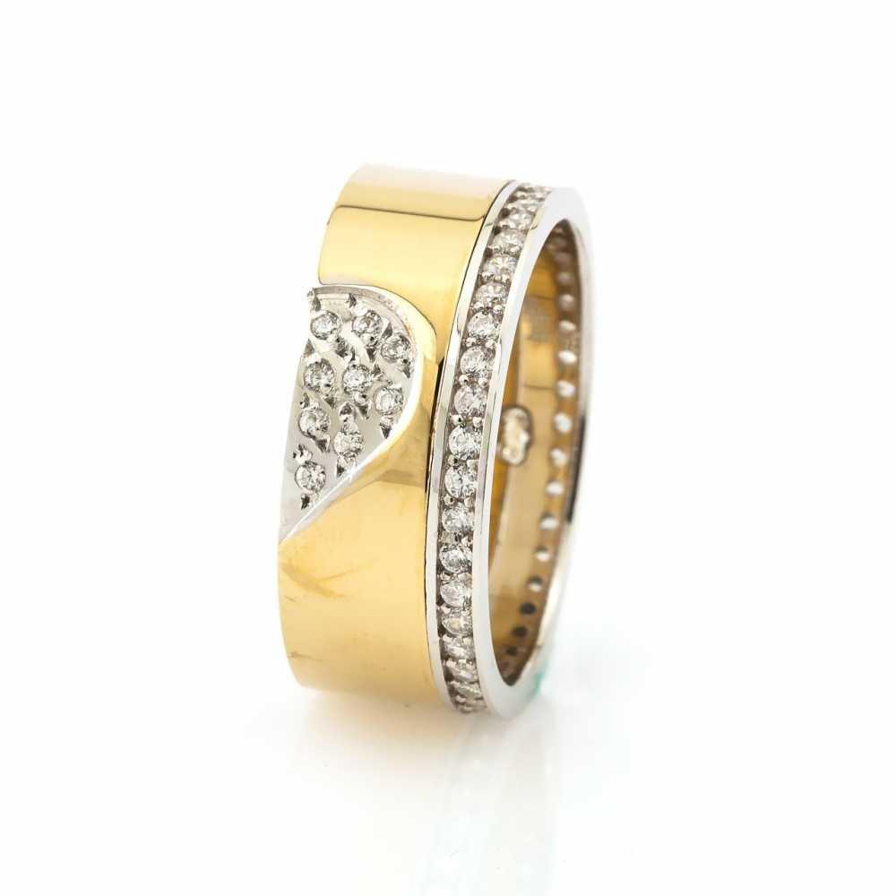 Kalbimin Sahibi Tasarım Zirkon Taş İşlemeli 925 Ayar Gümüş Bayan Alyans