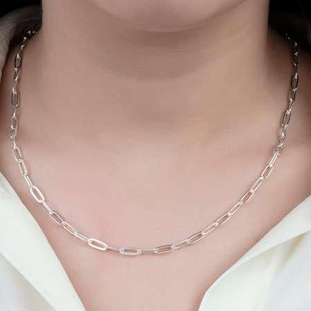 925 Ayar Gümüş Kalın Forse Bayan Zincir Kolye - Thumbnail
